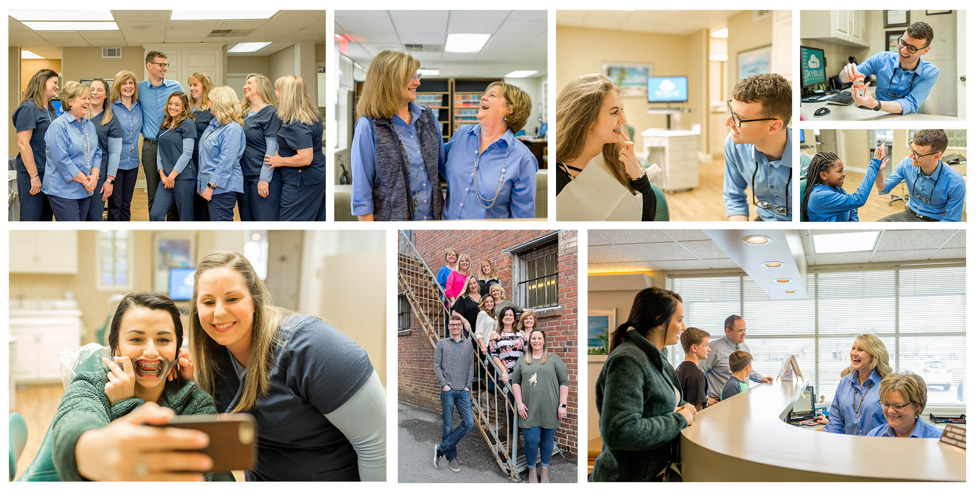 Collage of the Skyblue Orthodontics team with their patients