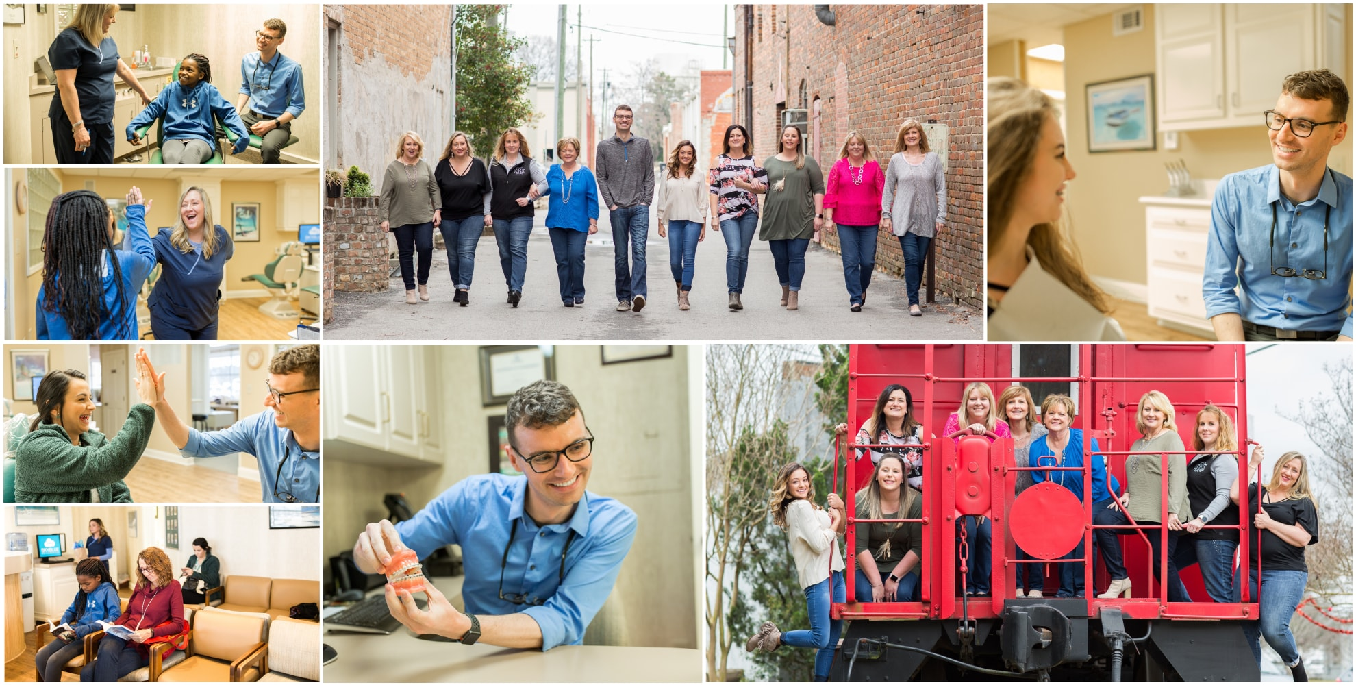 Collage of Skyblue Orthodontics welcoming new patients into their orthodontic practice