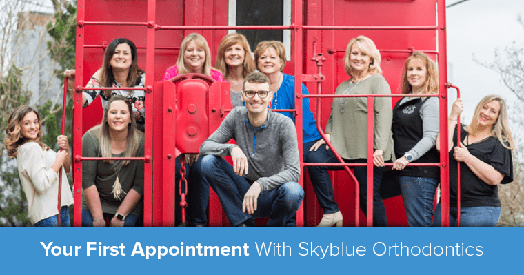 "Skyblue Orthodontics team with text ""Your first appointment with Skyblue Orthodontics"""